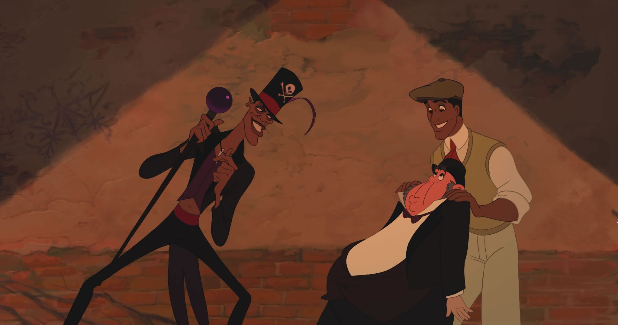 Dr  Facilier with Lawrence and Prince Naveen in The Princess