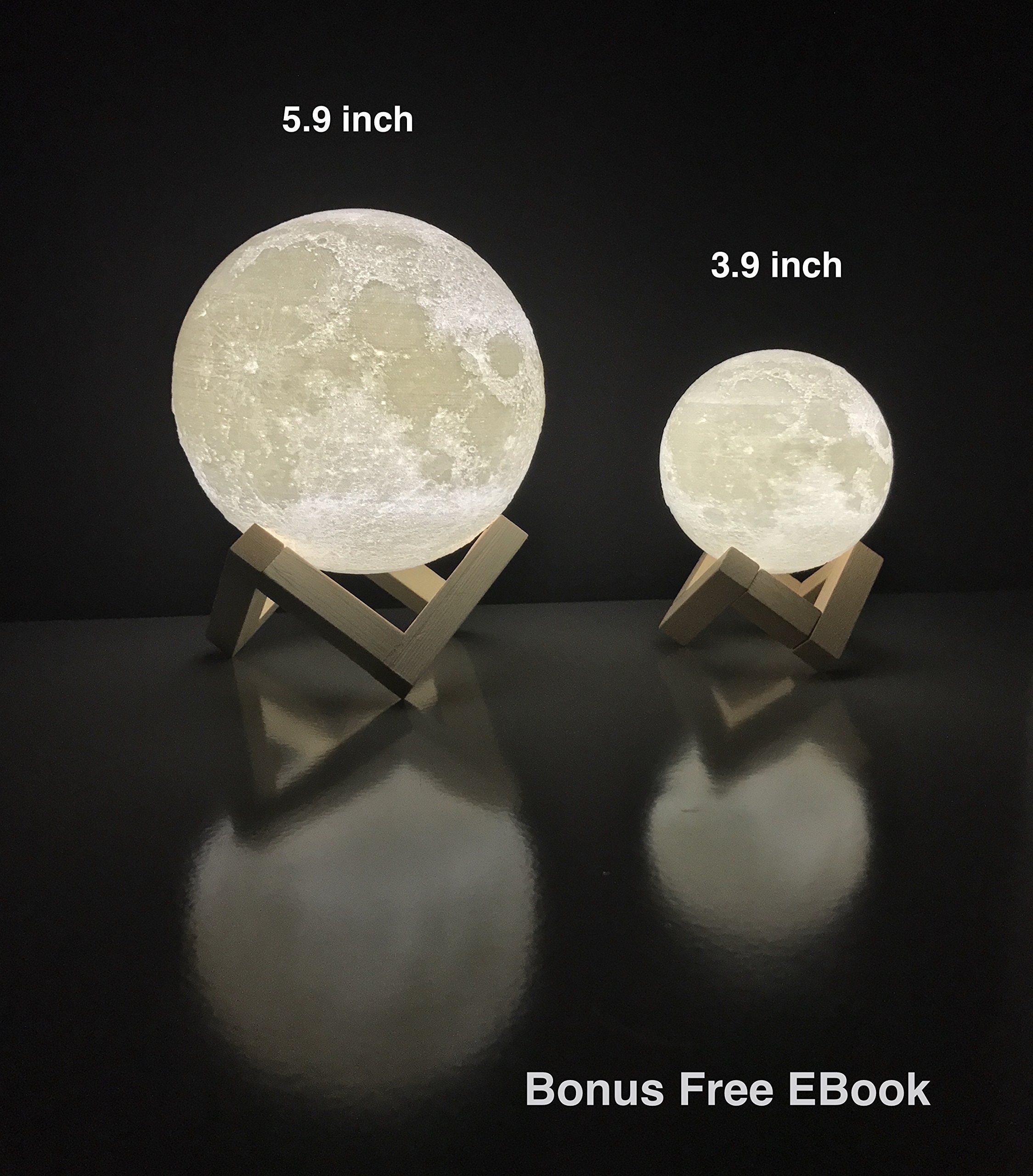 Moon Lamp Round Night Light 3d Printed Free Ebook Dimmable Brightness Touch Sensor Usb Charger Warm And Cool Whit Kid Room Decor Kids Room Decor Night Light