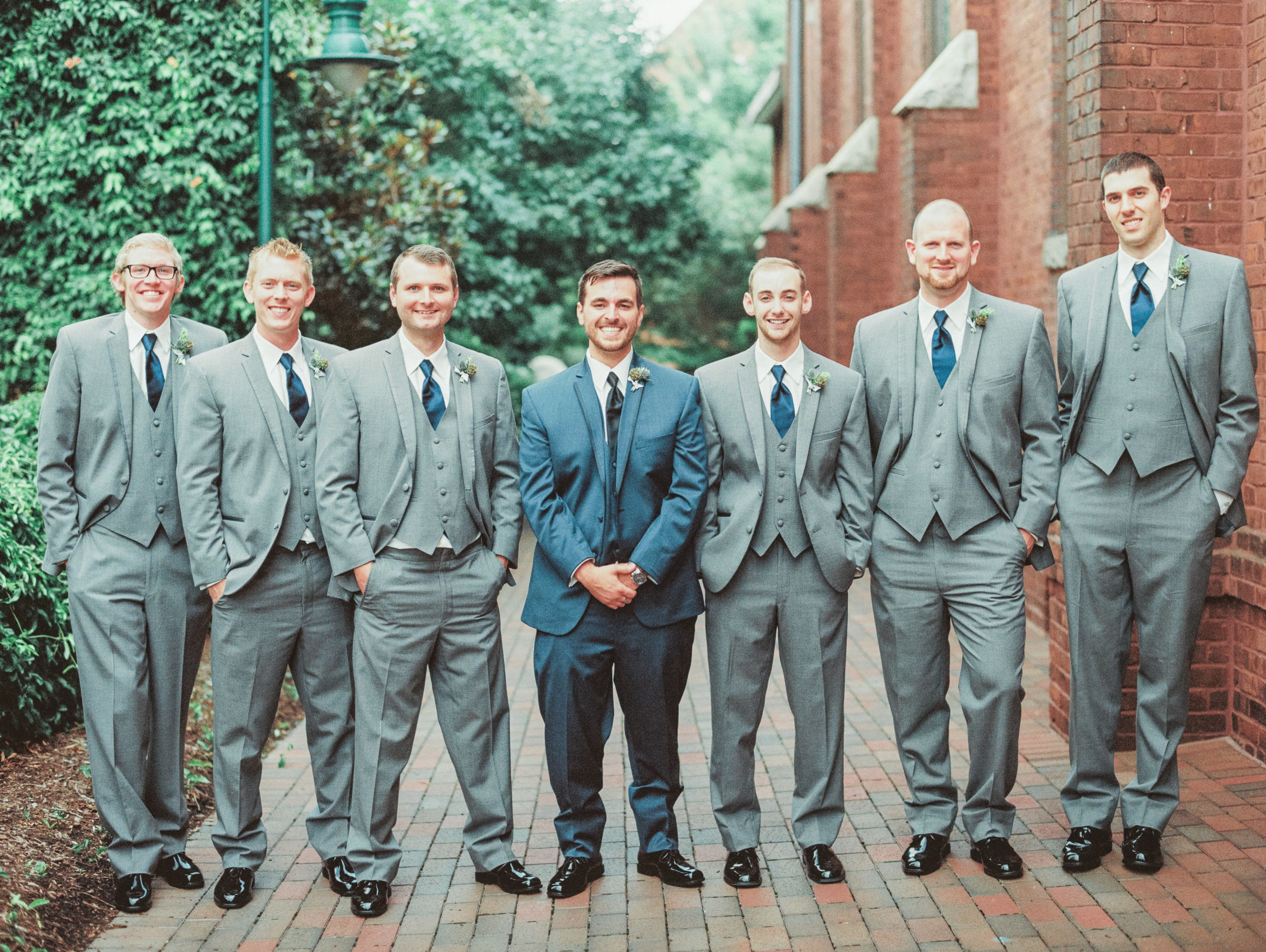 Whimsical + Elegant Charlotte Wedding | Groom grey suits, Wedding ...