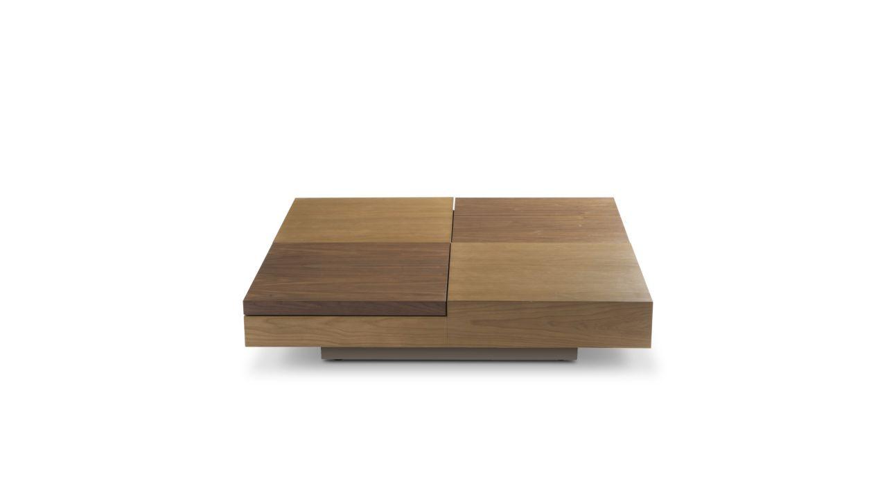 Table basse plateau en panneau de particules plaqu ch ne avec 2 plateaux mobiles plaqu s noyer - Table basse panneau signalisation ...