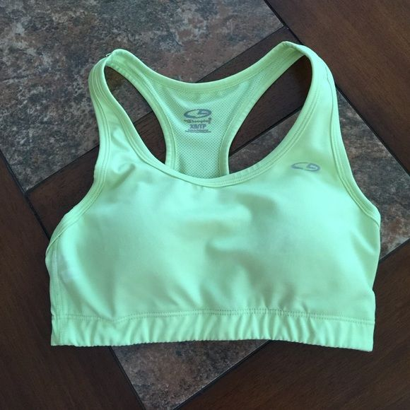 Neon Yellow Sports Bra Gently used! Has padding. Last two pictures are a better representation of the color. Better suited for a 32A or B Champion Intimates & Sleepwear Bras