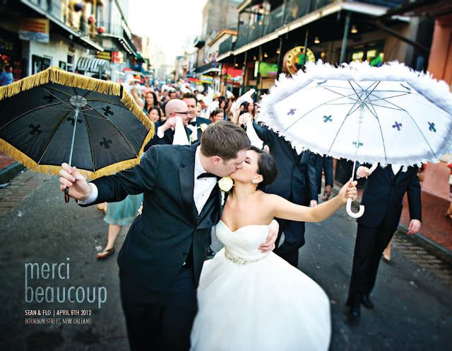 Second Line Wedding Umbrellas New Orleans French Quarter Bourbon Street Umbrella Wedding New Orleans Wedding Wedding