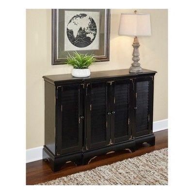 Superior Fianna Shutter Console Cabinet   Black Distressed   Oak Grove Collection