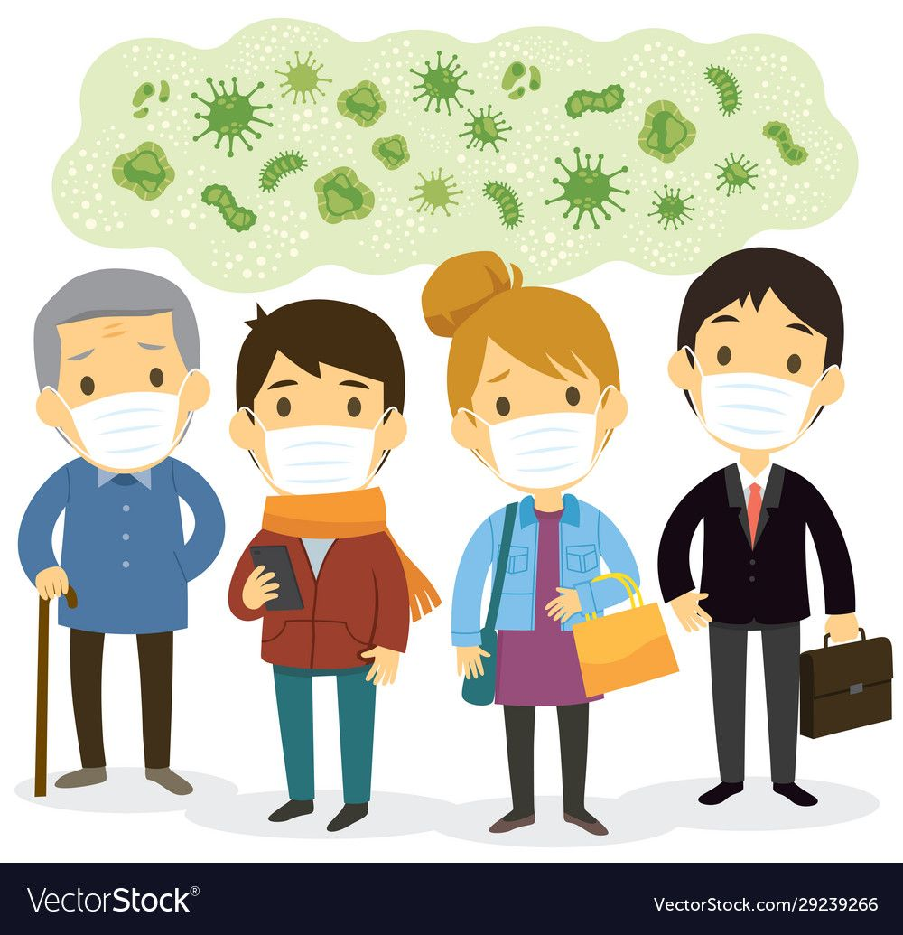 People wearing face masks against viruses vector image on