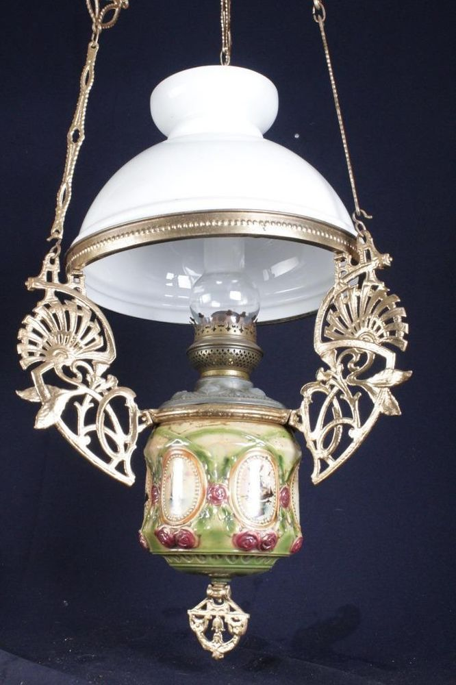 Wow A Beautiful Ornate Dutch Antique Hanging Oil Lamp With A Lovely Shade Oil Lamps Lamp Antique Oil Lamps