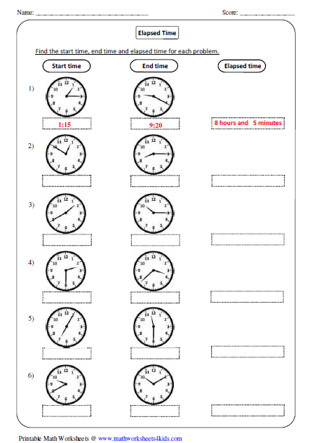 Elapsed Time In Analog Clock Time Worksheets Elapsed Time Worksheets Telling Time Worksheets