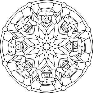 Mandala Malvorlage Mit Weihnachtsengeln Und Sternen Engel