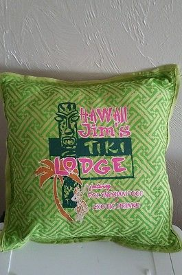 Tiki Lounge Throw Pillow by Dean Miller Surf Bedding Lime Pink Hawaii Jims