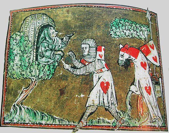 Lancelot speaking with the hermit