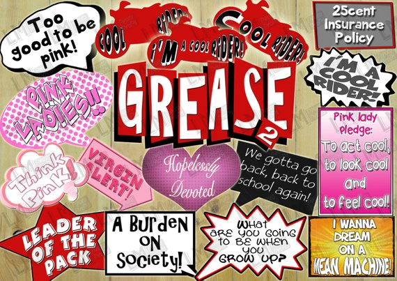 Fifties Grease Two Theme Party Photo Booth Props Inc Virgin Alert