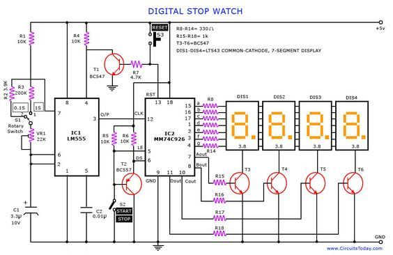 Digital Stop Watch Circuit Digital Timer Circuit Diagram Electrical Engineering Books