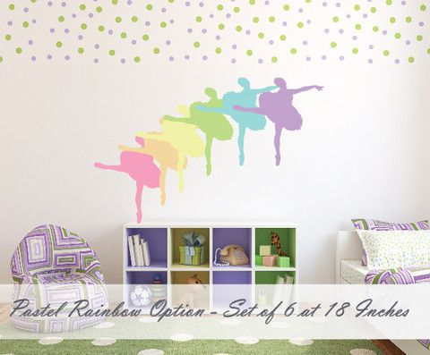 Ballerina Pastel Rainbow - Set of 6 Seperate Peel and Stick Decals