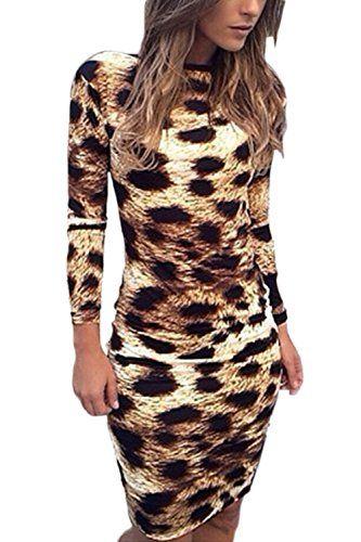Les Femmes Bodycon À Long Manche Dos Nu Hot Club Robe Léopard Leopard L 7fd1490f4efc
