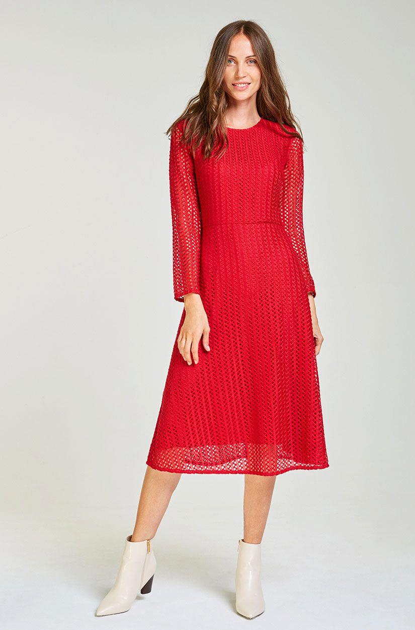 Midi-Kleid mit Spitze Rotes licht in 11  Kleid spitze, Modestil