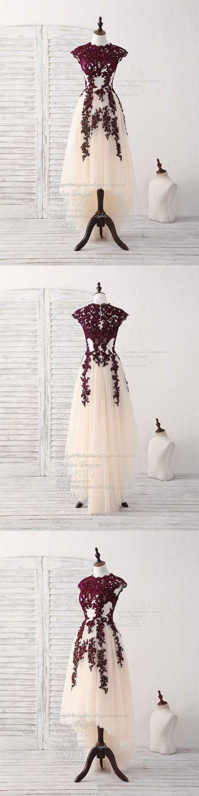 Burgundy lace tulle high low prom dress burgundy bridesmaid dress ...
