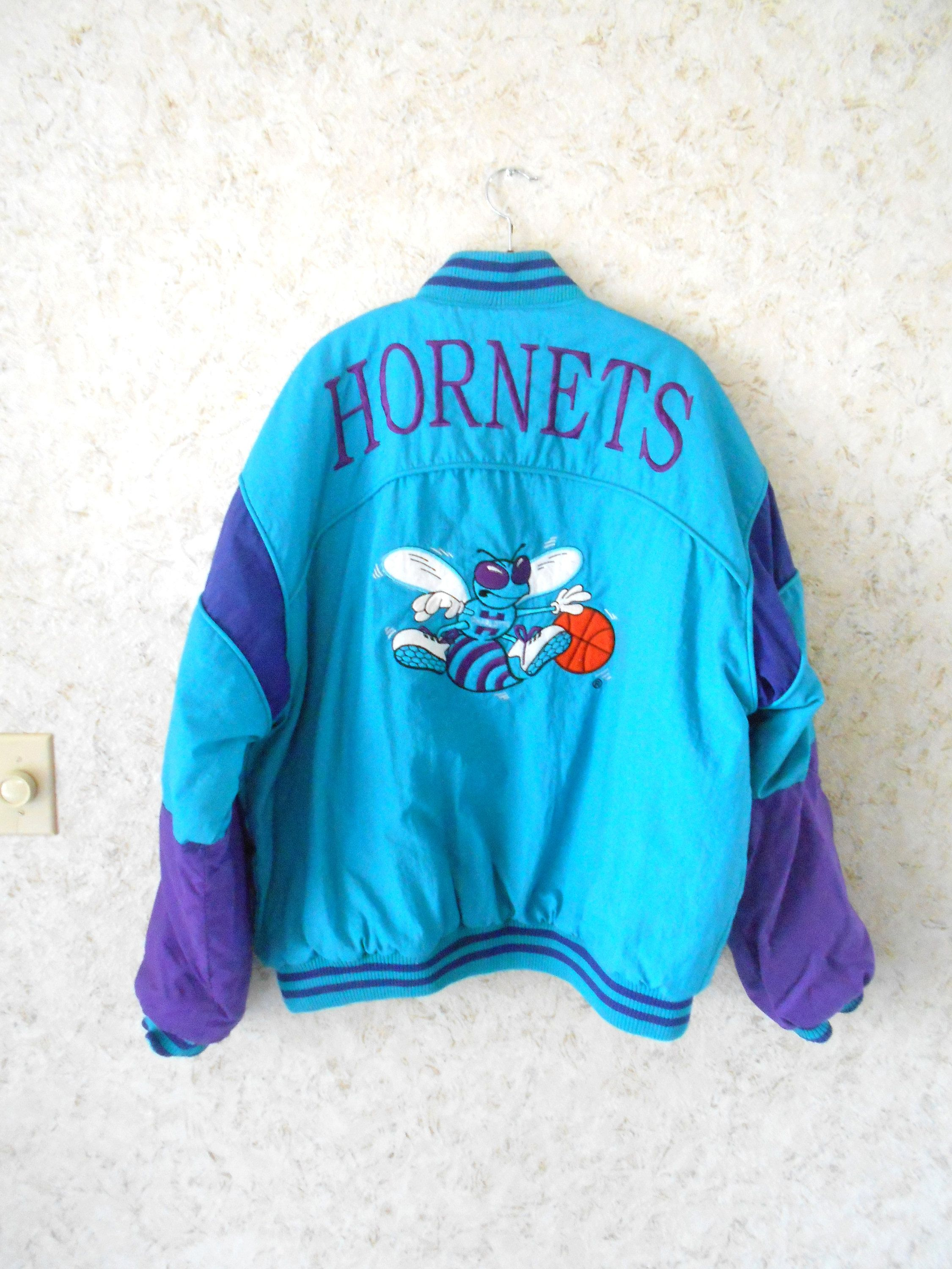 7d014b52f0d Vintage 90s Charlotte Hornets NBA Winter Jacket Coat Rare Campri Zippered  Jacket Teal Purple Retro Hip Hop Embroidered Logo Mens Large by  CoolDogVintage on ...