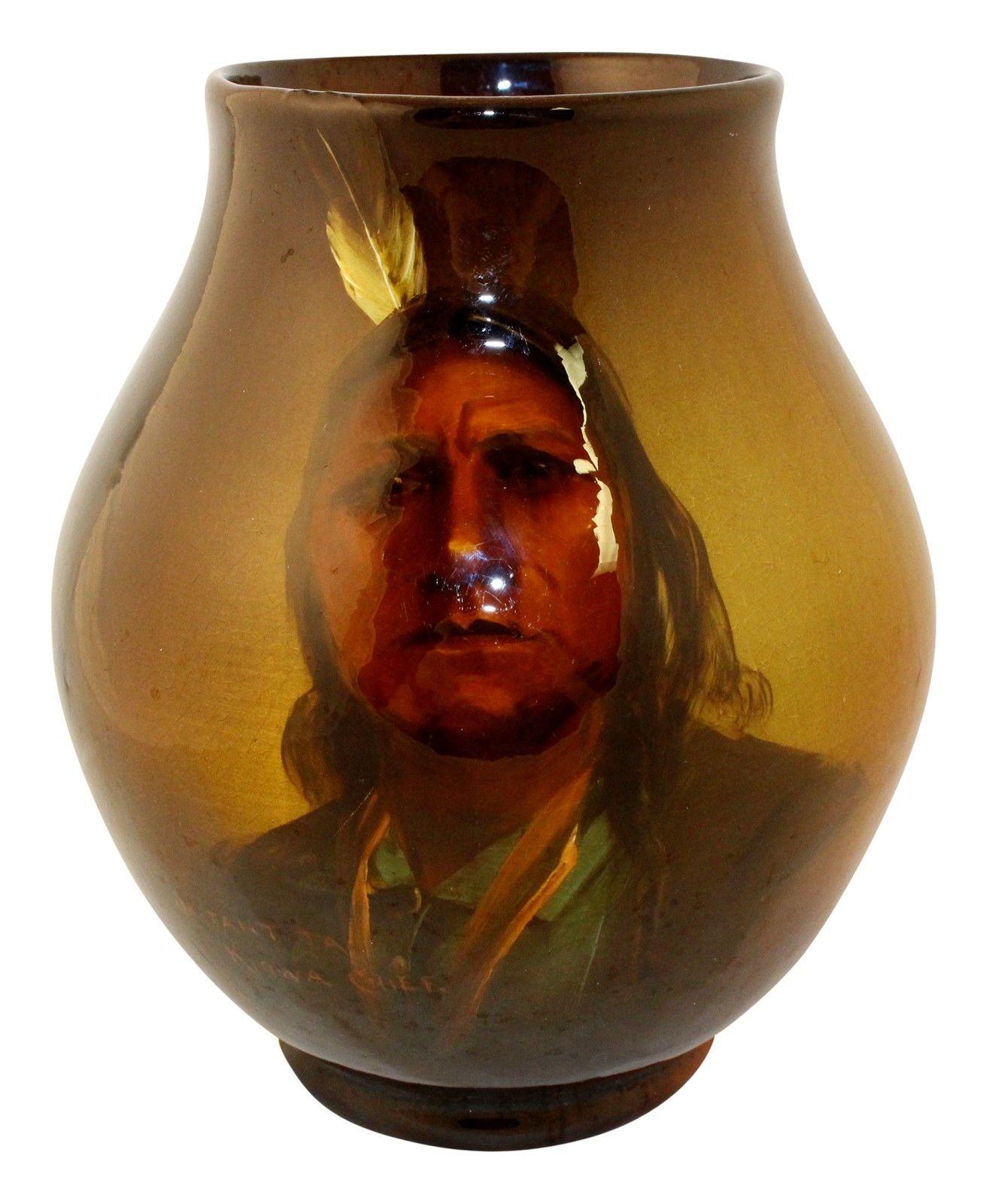 Owens Pottery Utopian Native American Sa-Tant Ta Kiowa Chief (Best)