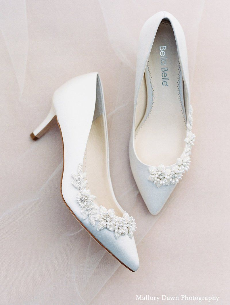 3d Floral Pearls And Beads Ivory Kitten Heels In 2020 Kitten Heel Wedding Shoes Bridal Shoes Low Heel Wedding Shoes