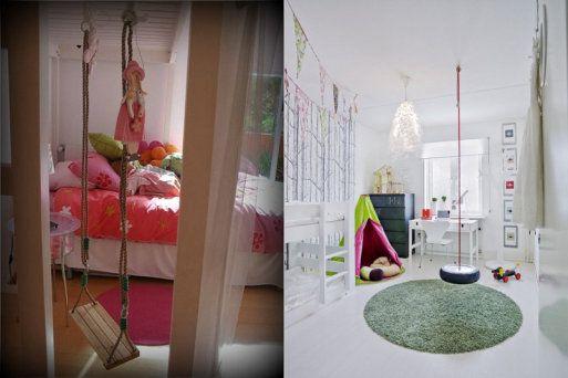 Columpios en dormitorios infantiles