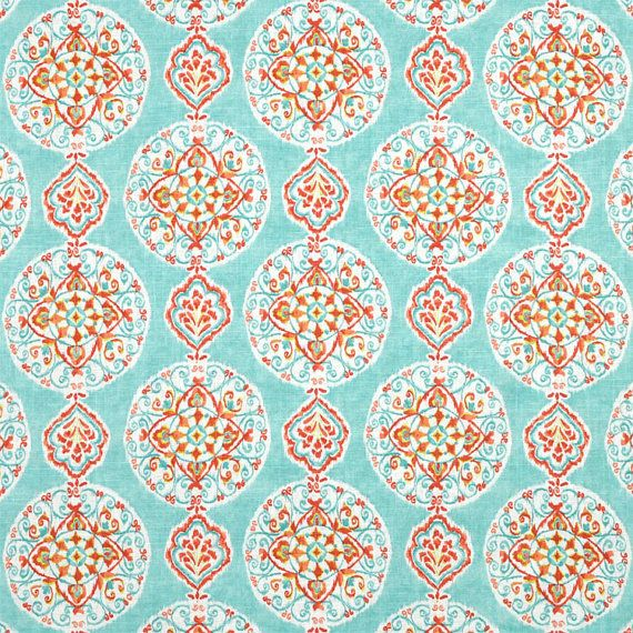 Teal Orange Curtains Aqua Window Curtains Light Turquoise Medallion Rod Pocket Curtains Trendy Curtains Windo Orange Curtains Fabric Decor Fabric Wallpaper