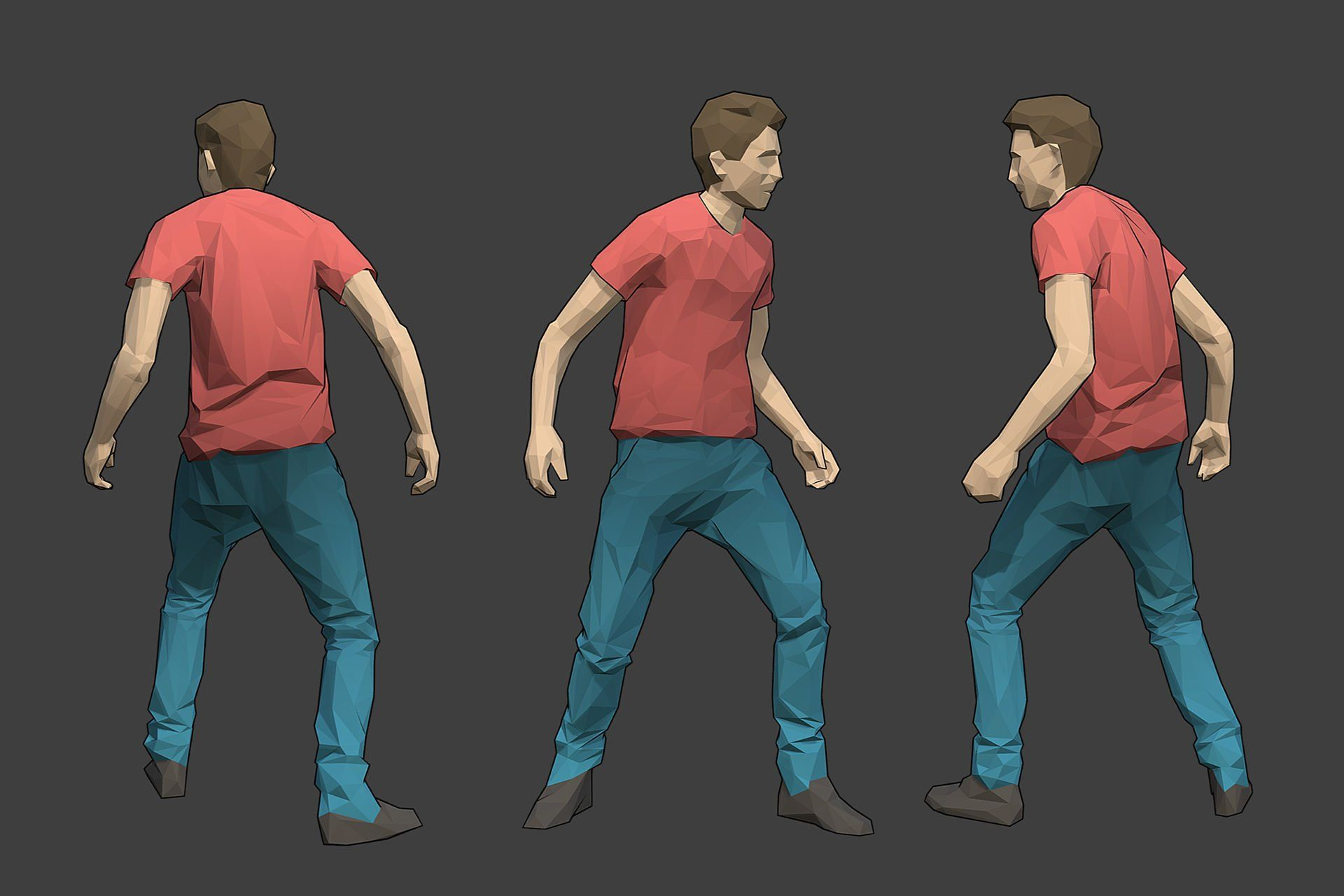 Lowpoly Male Character Tim Low poly character, Low