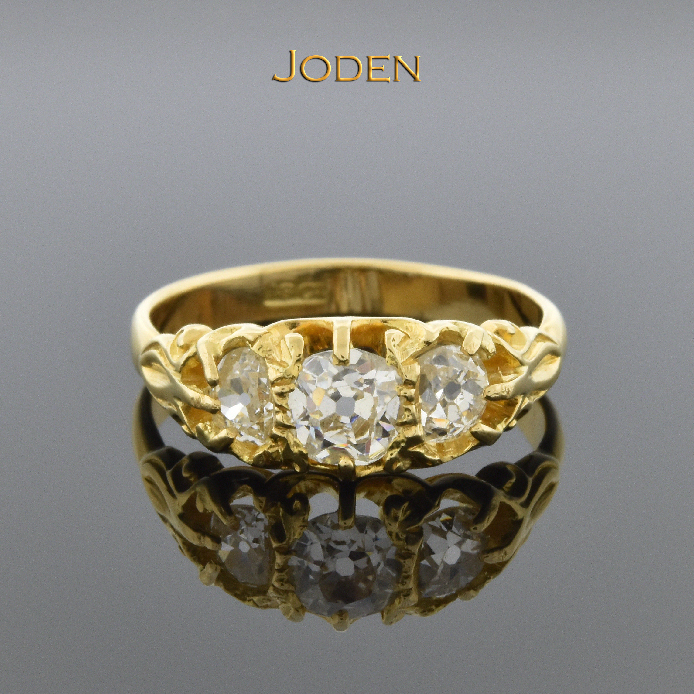 818bfd4141242 Antique English Three Old Mine Cut Diamond Ring   Victorian   Three ...