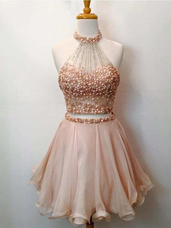 2 Piece Halter Homecoming Dresses 2018 Blush Pink Short Prom Dresses ...