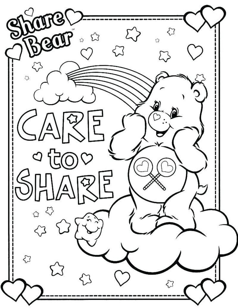 Printable Care Bear Coloring Pages For Your Kids Free Coloring Sheets Bear Coloring Pages Disney Coloring Pages Coloring Books