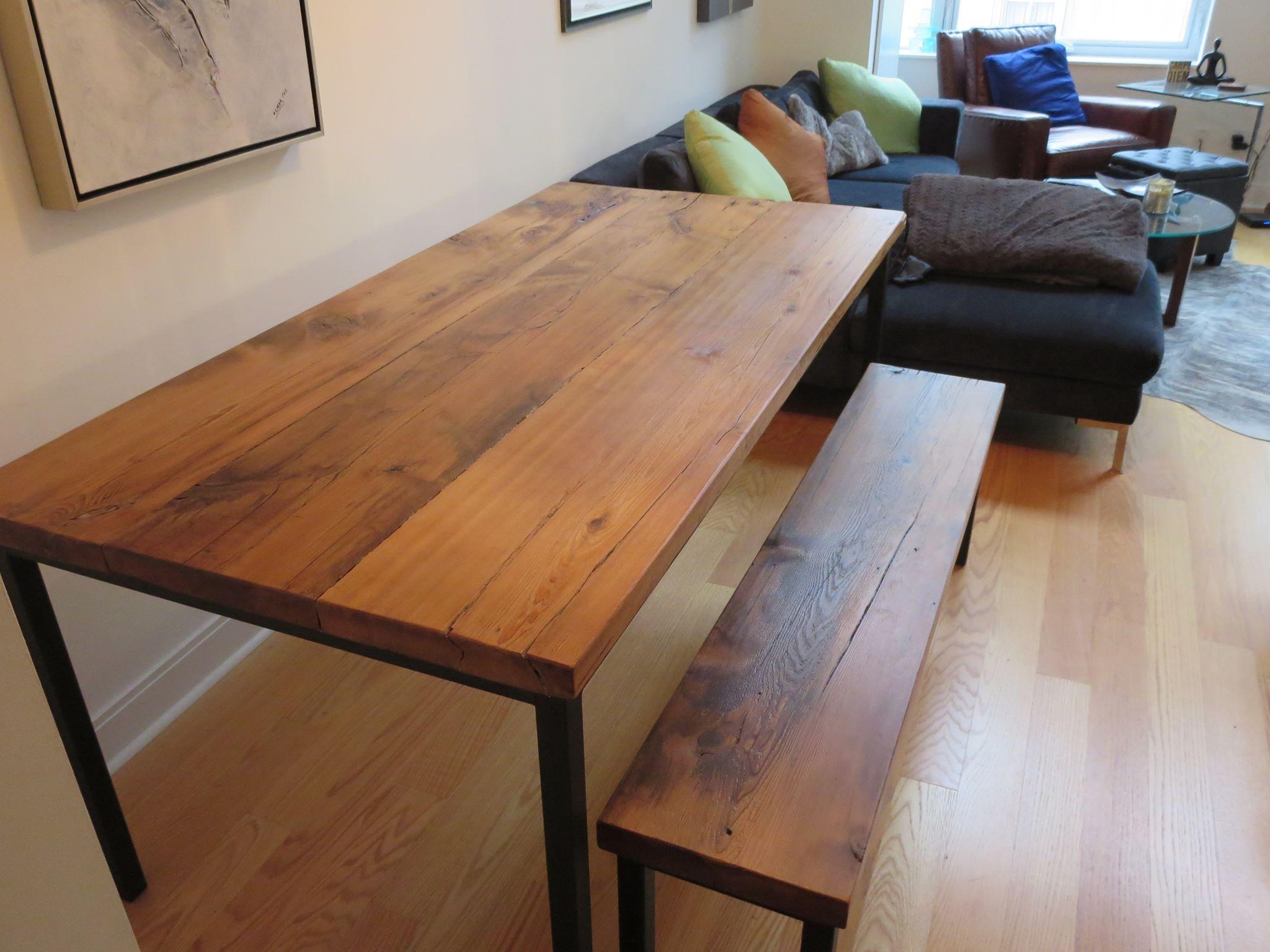custom barn wood kitchen table with square metal frame