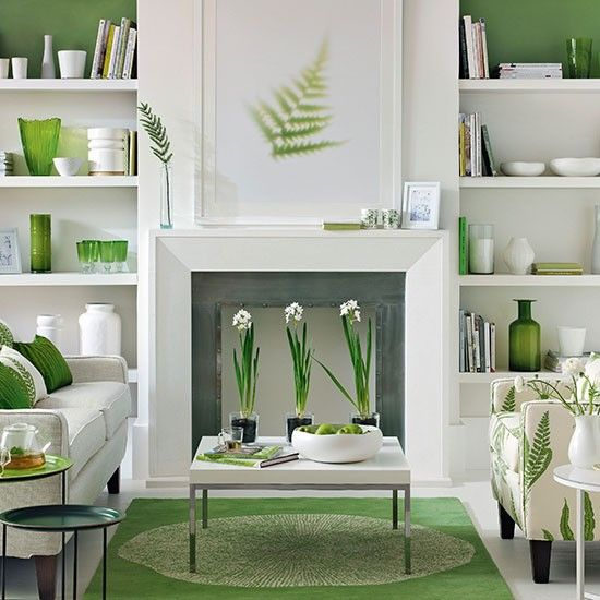 Green and white living room | Living room decorating | Ideal Home ...