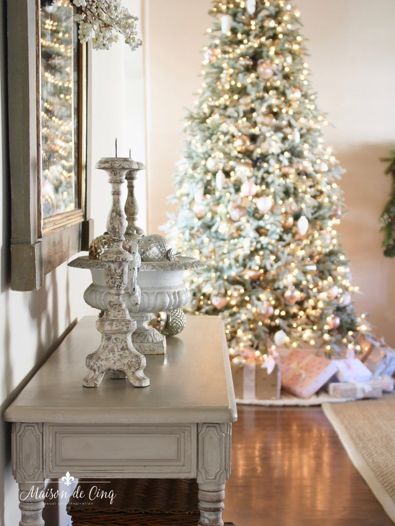 Christmas Living Room Gorgeous Flocked Tree Lights Pink And Silver Decorations French Country Style