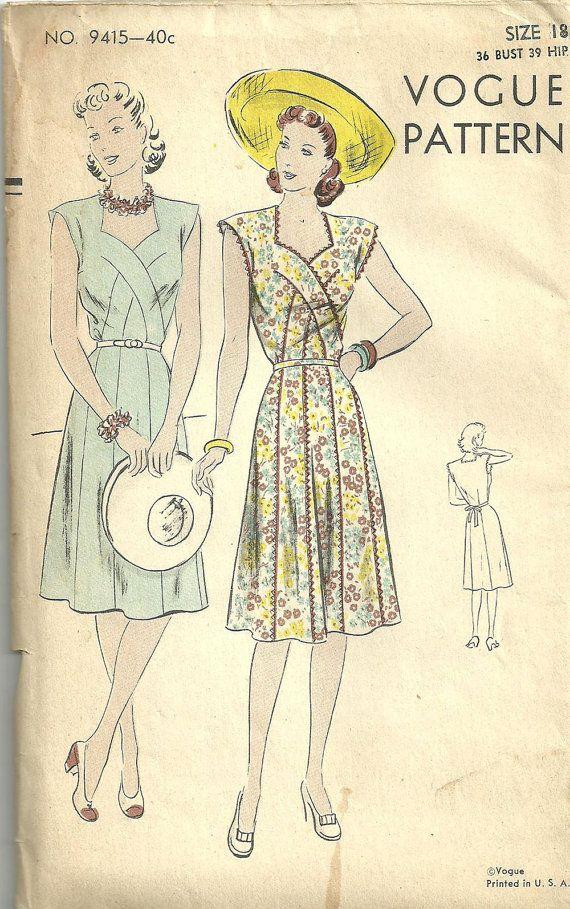Años cuarenta Vintage Costura Patrón de Vogue 9415   Confección de ...