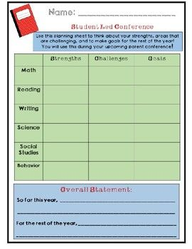 Student Led Conference Planning Template And Invite  Student Led