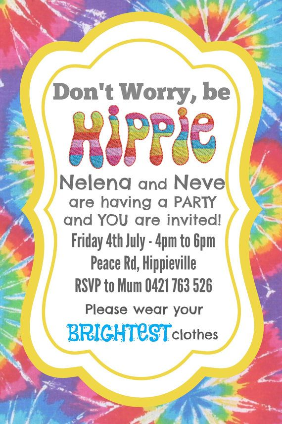 Hippie Party Invite Invitation - CUSTOM MADE - Digital ...