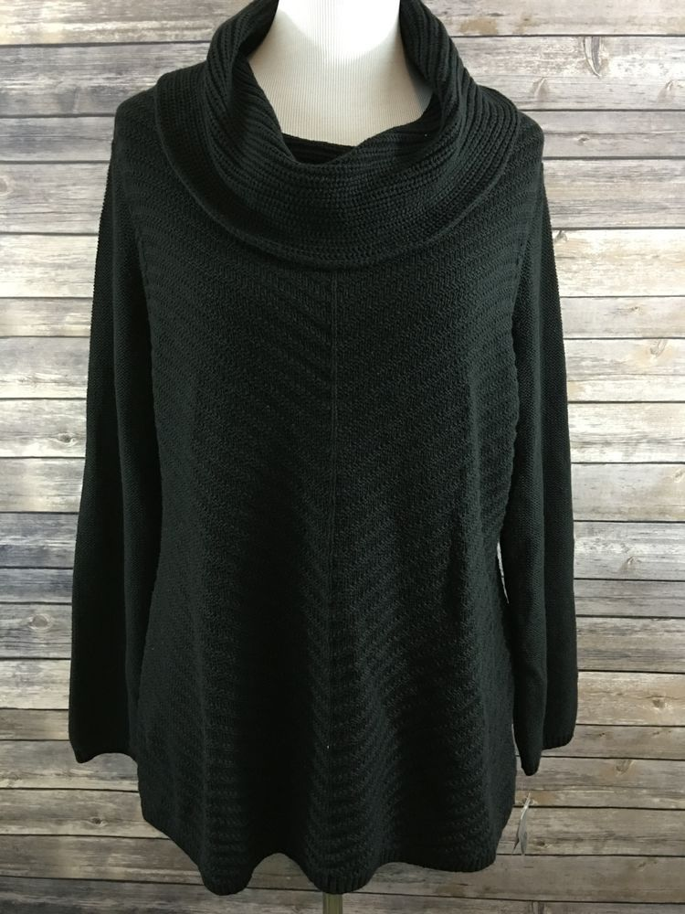 Style & Co. Women's Black Cowl Neck Long Sleeve Sweater Size XL ...