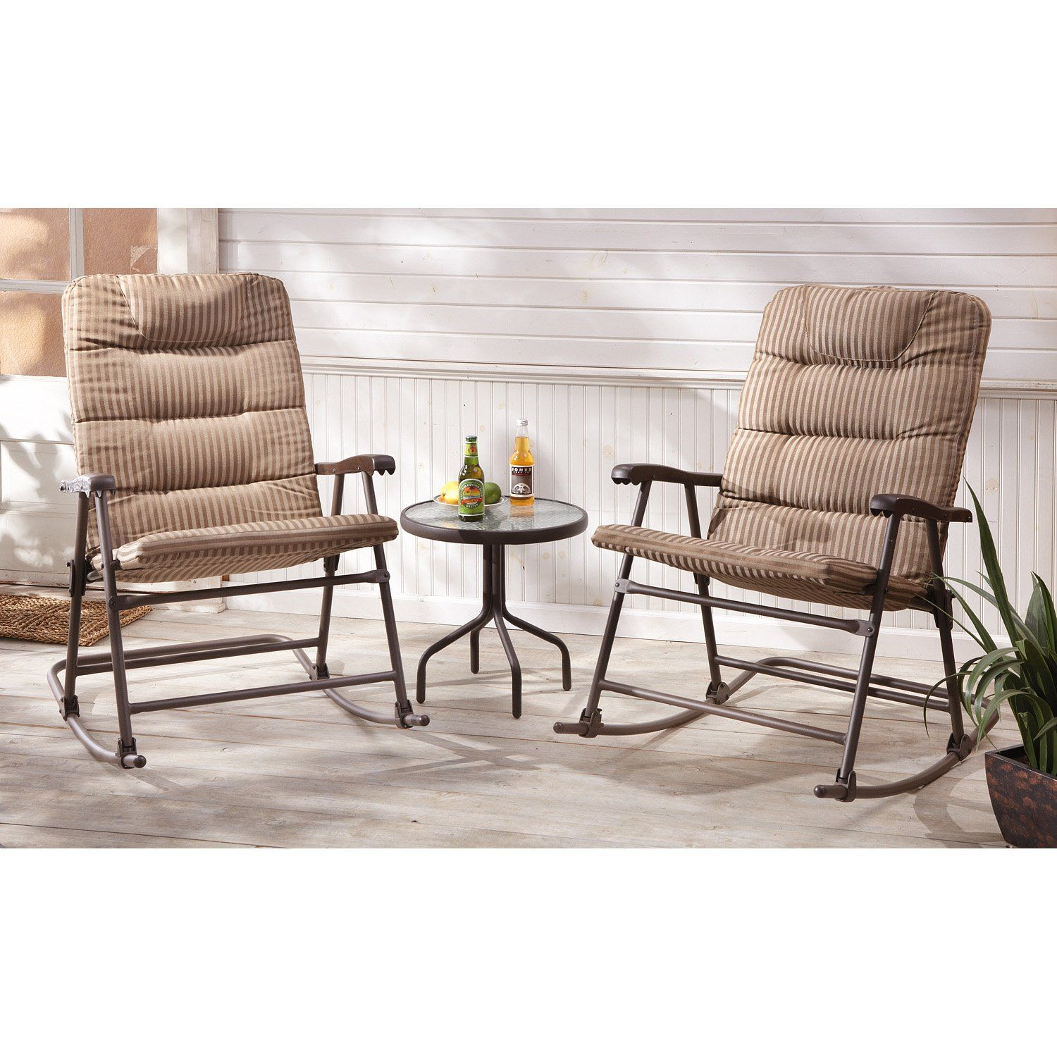 3Pc. CASTLECREEK Padded Rocker Set Outdoor rocking