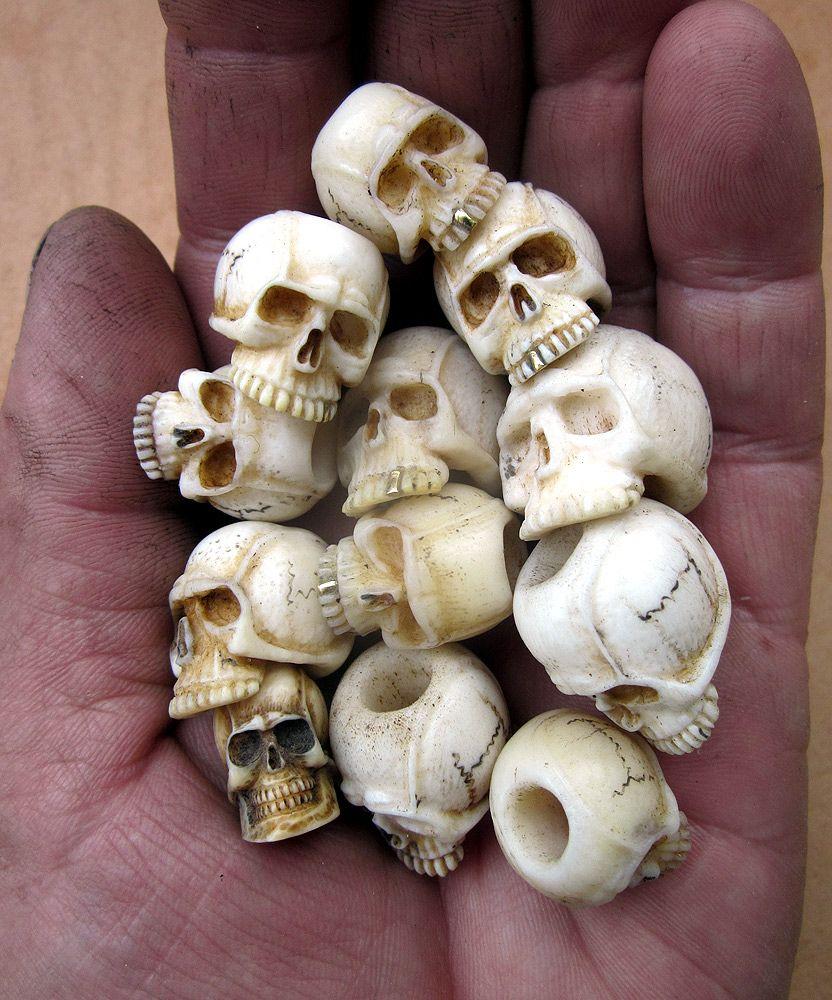 Cherepa Skull Carving Beaded Skull Bone Carving