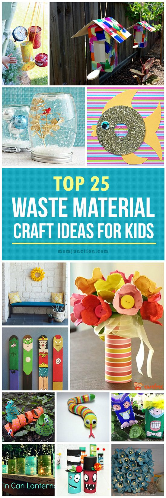 25 creative out of waste material crafts for kids waste for Craft out of waste