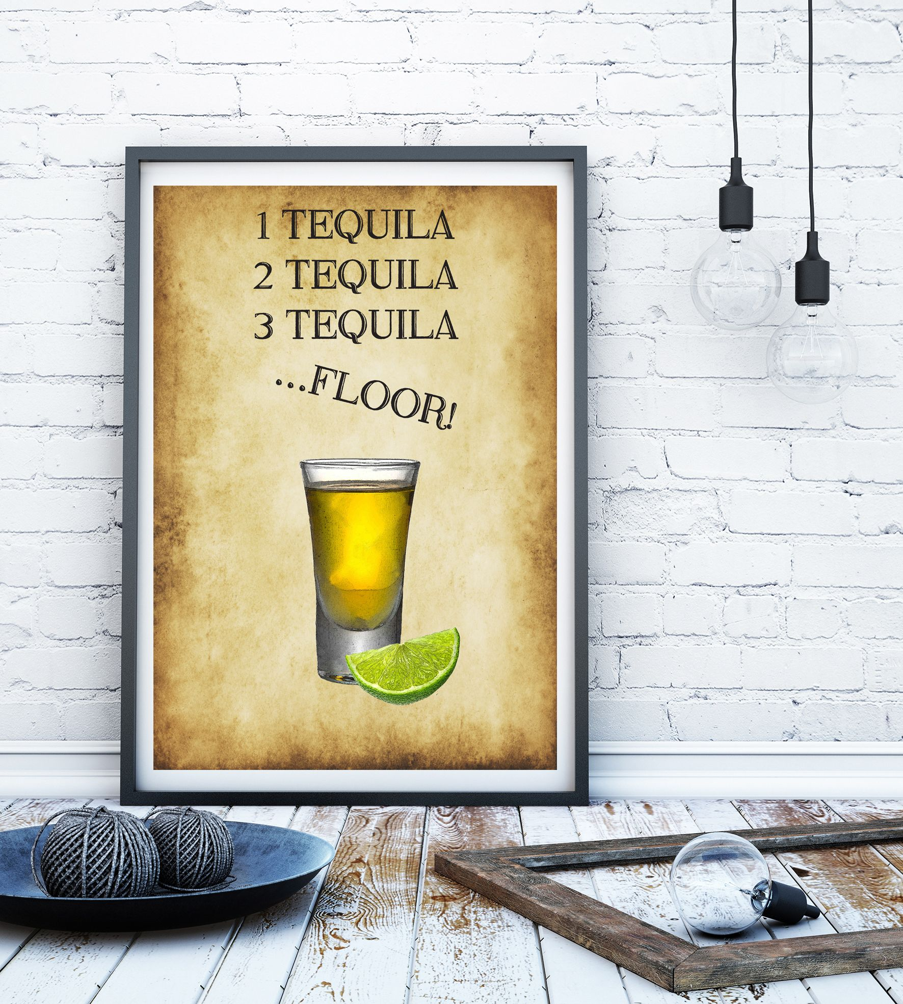 Tequila print alcohol print kitchen print kitchen sign bar art