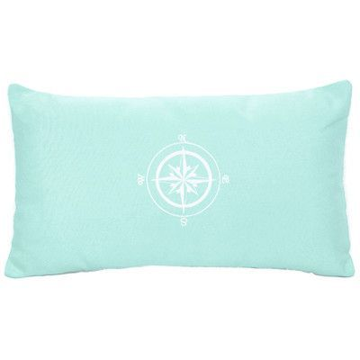 Nantucket Bound Compass Rose Indoor/Outdoor Sunbrella Lumbar Pillow Color: Glacier Blue