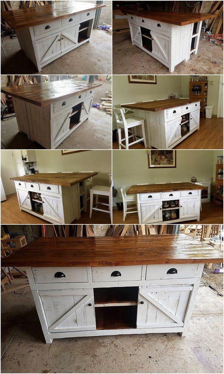 Palette Kücheninsel Tisch oder Schrank mit Schiebetüren ...