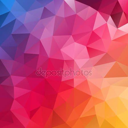 Télécharger - Vector fond polygone bleu modèle - dessin géométrique triangulaire dans le spectre de couleur complet - pavage irrégulier, violet, rouge, rose orange, jaune — Illustration #95920596