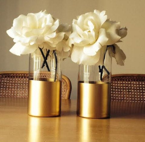 Gold Dipped Vases Single Large Blooms Wedding Centerpiece