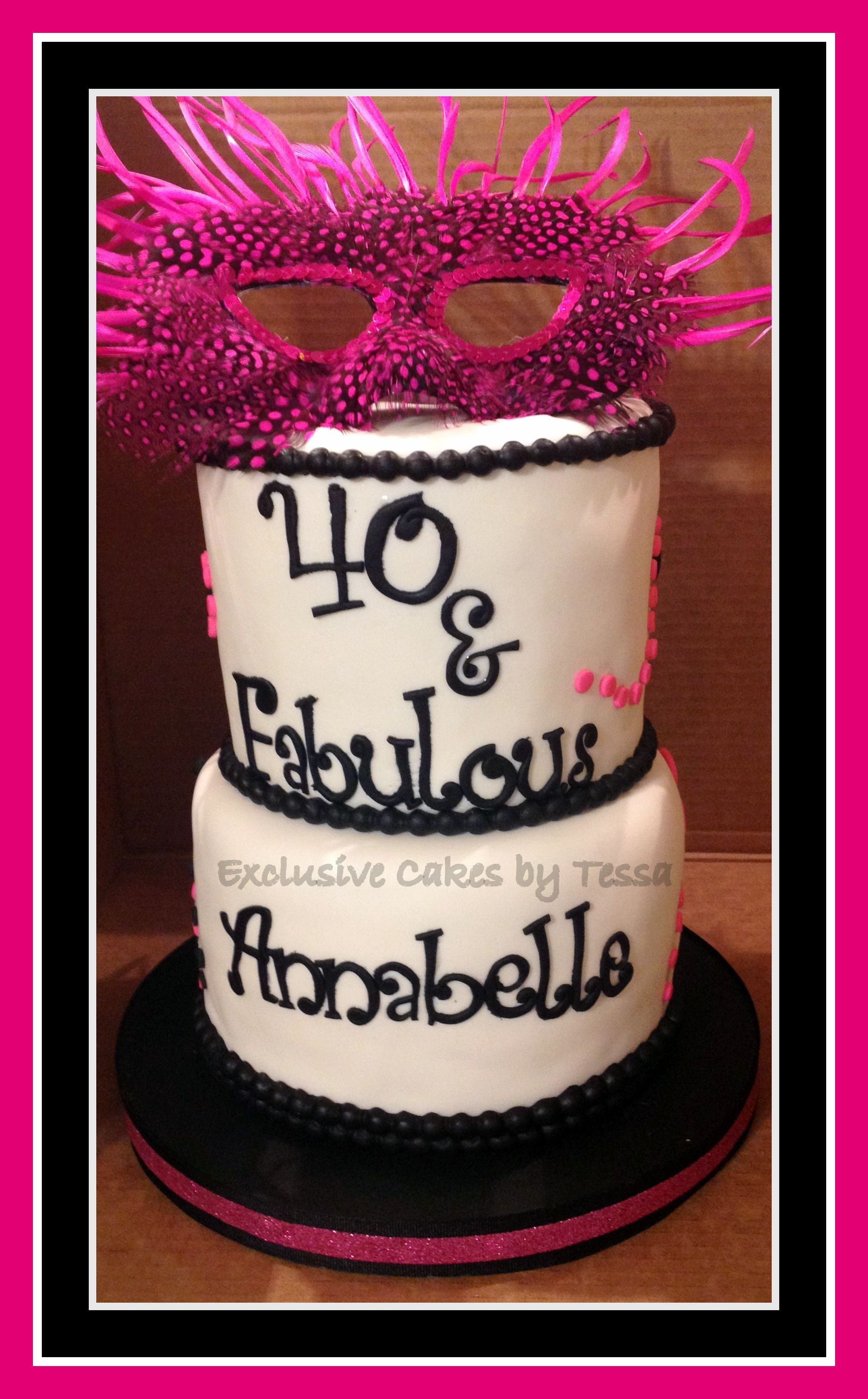 Hot Pink Black 40 and Fabulous birthday cake with feather mask