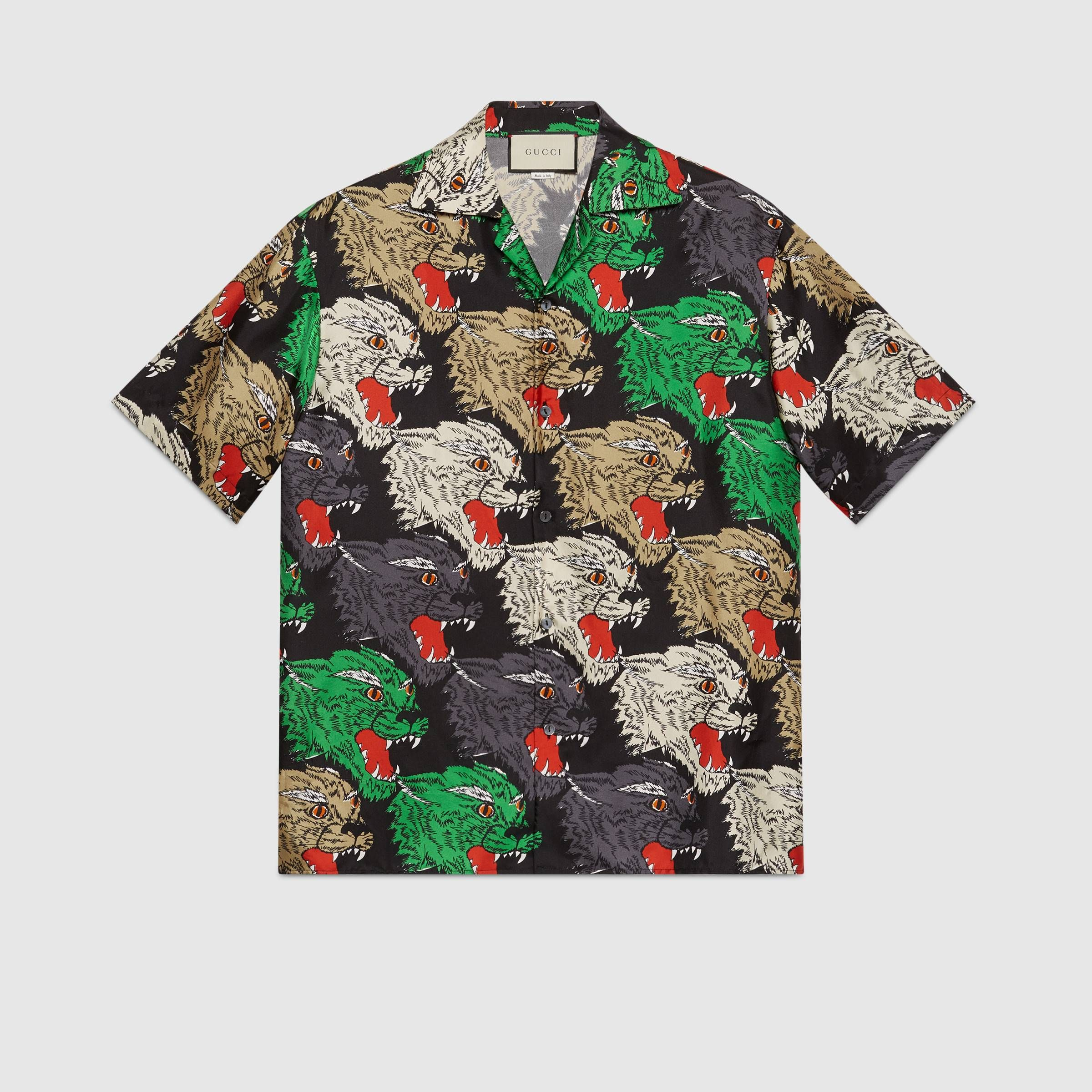 450810ef5 Panther face bowling shirt in Green, beige and black panther face print silk  twill | Gucci Men's Dress Shirts & Sports Shirts
