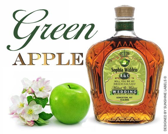 Personalized Gold Crown Royal Green Apple Label By SunshineLabels