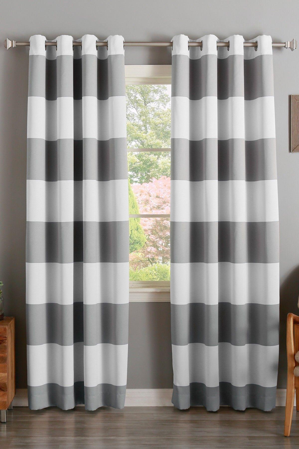 Best Home Fashion Inc Bold Stripe Print Room Darkening Grommet Top Curtains Set Of 2 Grey Gestreifte Vorhange Gestreiftes Zimmer Style At Home