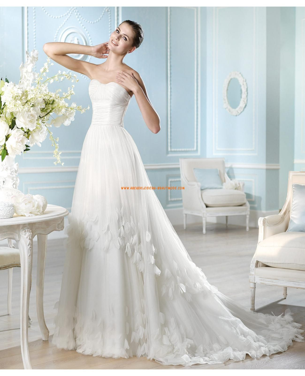 2014 Elegante Brautkleider aus Satin und Tüll A-Linie | brautkleider ...