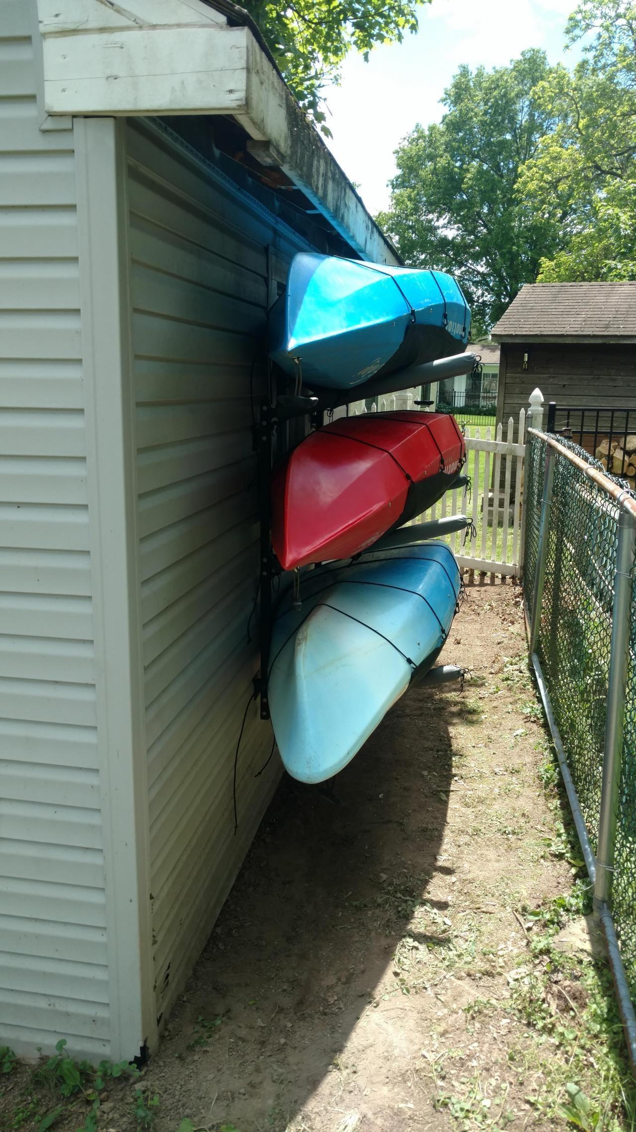 Outdoor Kayak Storage Rack Wall Mount Holds 4 Kayaks Adjustable Organizer In 2020 Kayak Storage Kayak Storage Rack Diy Kayak Storage