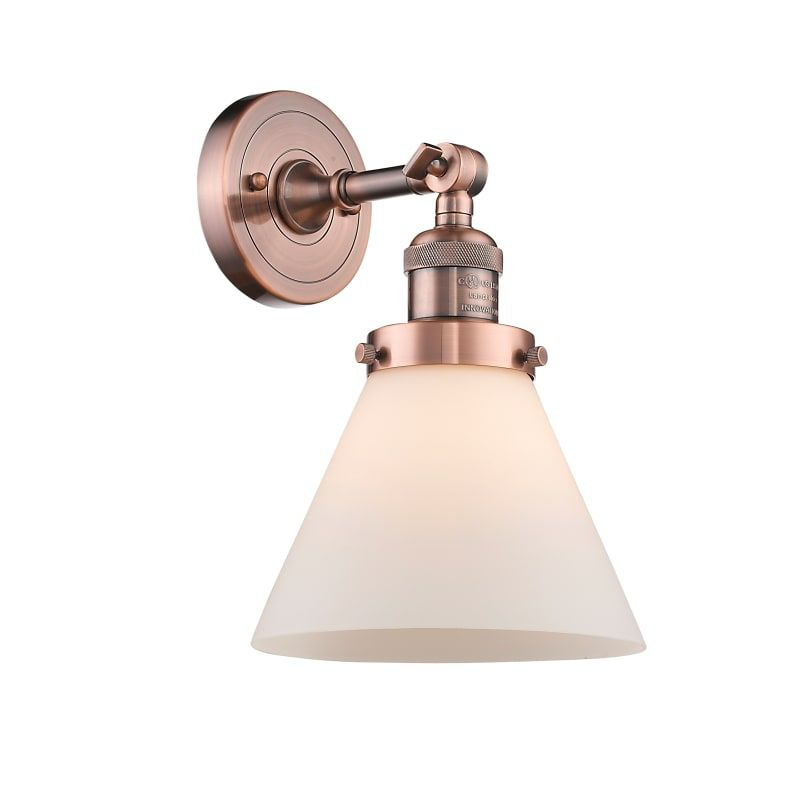 Photo of Innovations Lighting 203 Large Cone Large Cone Single Light 10″ Tall Bathroom Sc Antique Copper / Matte White Cased Indoor Lighting Bathroom Fixtures